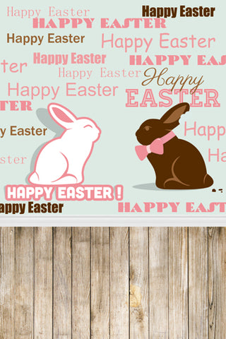 Cartoon Rabbits Easter Wood Backdrop Photography Studio Background