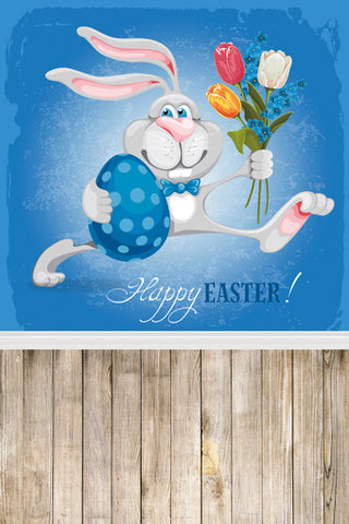 Cartoon Easter Rabbit Wall Happy Easter Backdrop Photography Props Studio Background