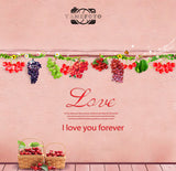 Pink Wall Variant Fruits Love Letters Valentine Backdrop Photography Studio Background