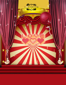 Red Hearts Love Letters Stripes Decoration Stage Valentine Backdrop Photography Studio Background