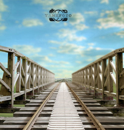 Blue Sky Wood Railway Outdoor Scenic Backdrop Photography Studio Background