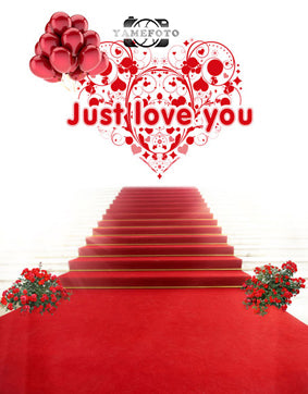 Red Carpet Heart Rose Wedding Valentine Backdrop Photography Studio Background
