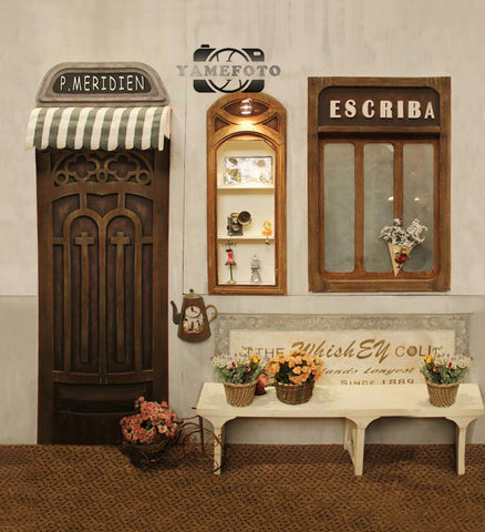 Vintage Street Shop Door Window Outdoor Backdrop Photography Studio Background