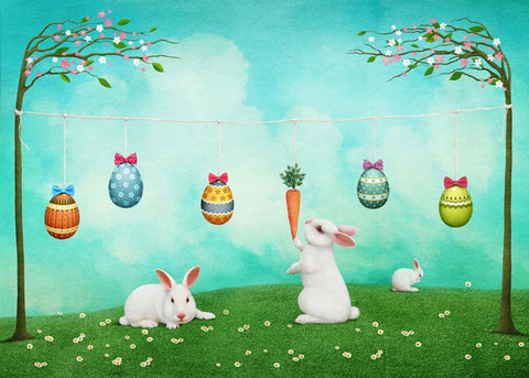 Cartoon Rabbits Easter Eggs Kids Children Happy Easter Backdrop Photography Props Studio Background