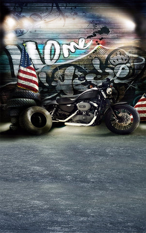 Graffiti Wall Vintage Black Motorbike Outdoor Retro Scenic Backdrop Photography Props Studio Background