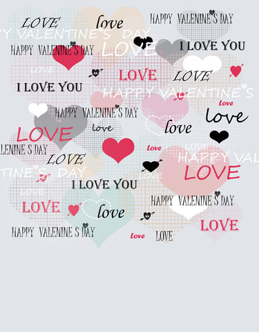Hearts Love Letters Happy Valentines Day Backdrop Photography Props Studio Background
