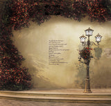 Floral Yellow Wall Streetlamp Vintage Outdoor Scenery Backdrop Photography Studio Background