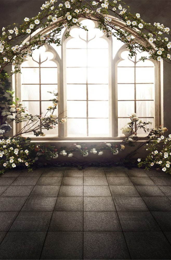 Spring Flowers Vintage Wood Window Backdrop Photo Studio Backgrounds