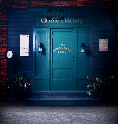 Vintage Cyan Door Outdoor Scenic Backdrop Photography Studio Background