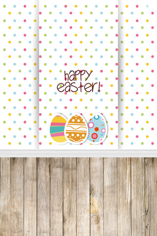 Cartoon Colored Dots Easter Eggs Decoration Wood Backdrop Photo Studio Background