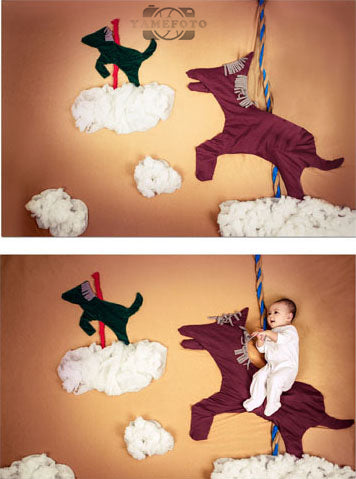 White Cloud Cute Horses Baby Backdrop Photography Studio Background