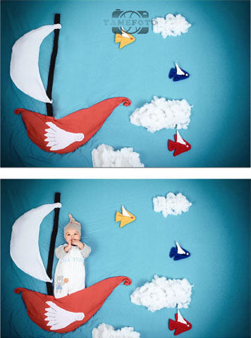 Cartoon Boat COlorful Fishes White Cloud Baby Backdrop Photography Studio Background