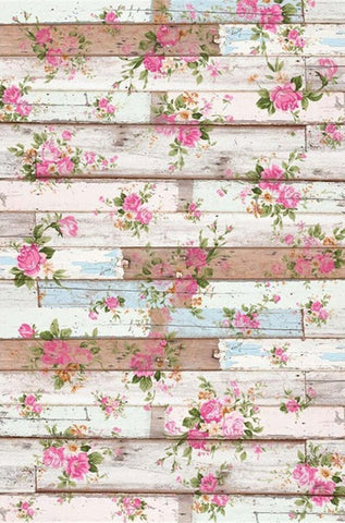 Pink Flowers Wood Plank Backdrops Baby Newborn Photography Props Kids Studio Portrait Backgrounds