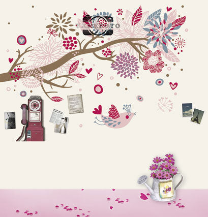 Cartoon Flowers Hearts Bird Wall Kids Valentine Backdrop Photography Studio Background
