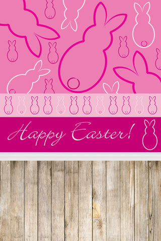 Abstract Pink Sketch Easter Rabbits Wood Backdrop Photography Props Studio Background