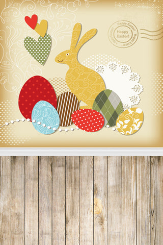 Cartoon Rabbit Easter Eggs Kids Children Happy Easter Backdrop Photo Studio Background