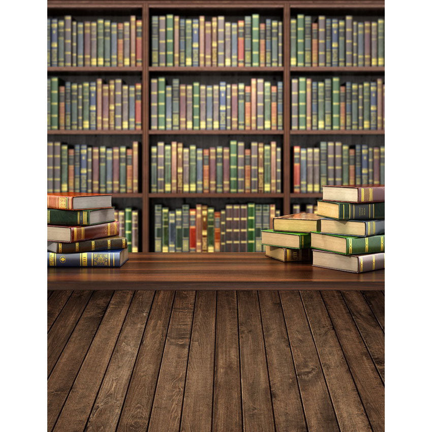 School Library Study Bookshelf Wood Backdrop Photo Studio Background