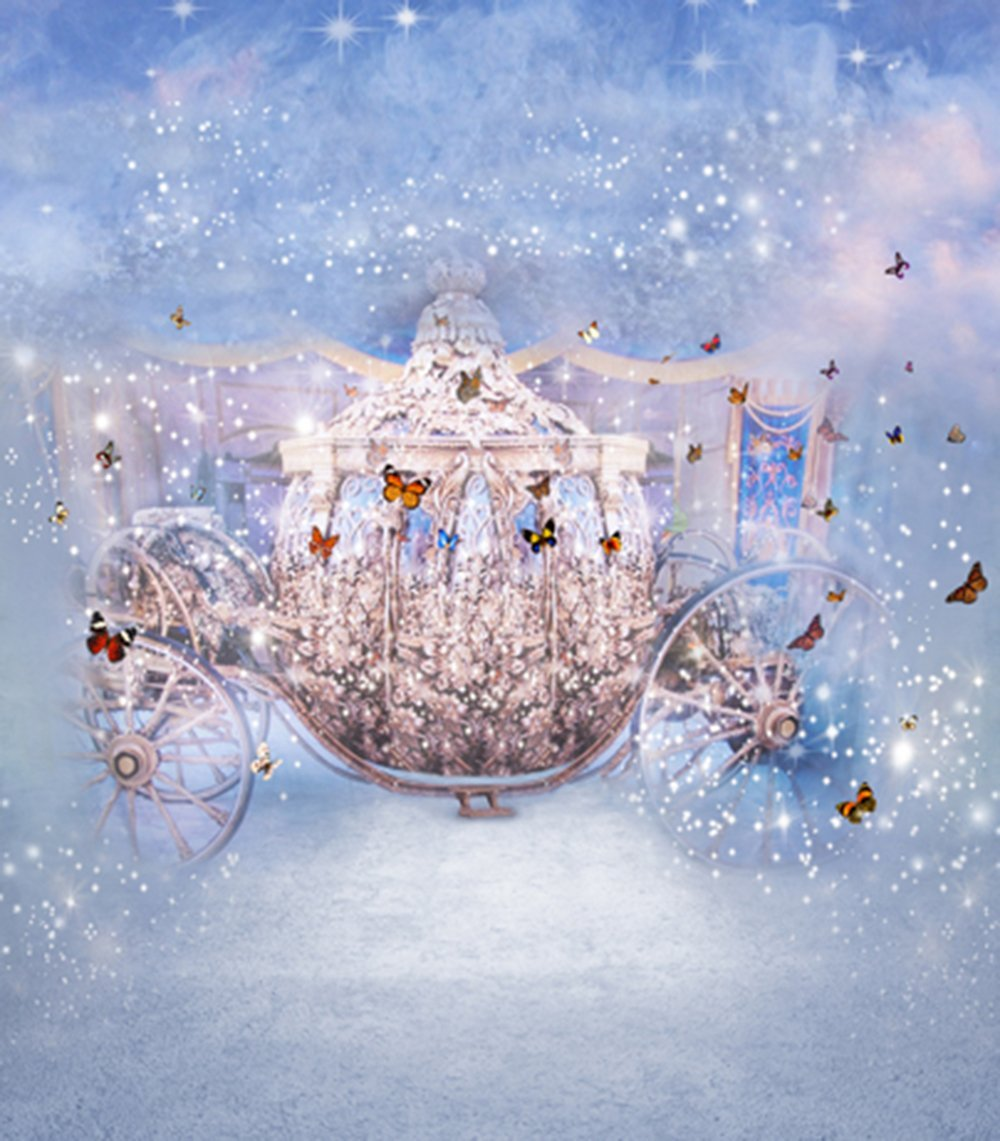 Dancing Butterflies Princess Carriage Fairy Tale Kids Children Backdrop Photo Studio Background