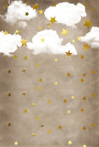 Brown Old Master Style Cartoon Clouds Stars Kids Children Backdrop Photography Studio Background