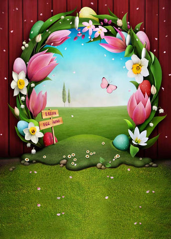 Cartoon Wood Hole Flowers Easter Eggs Newborn Kids Easter Backdrop Photography Props Studio Background