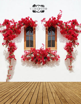 Red Rose Flower Wood Window White Wall Backdrop Photography Studio Background