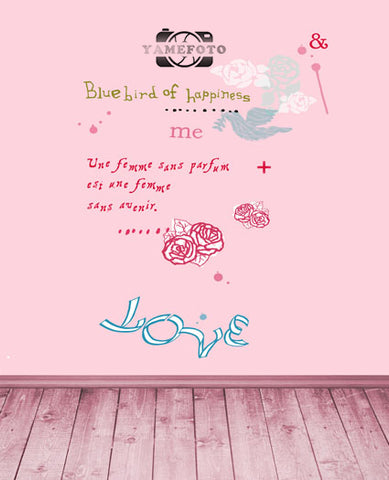 Pink Rose Flower Love Wall Wood Floor Valentine Fotografia Backdrop Photography Studio Background