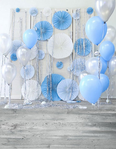 Boys Birthday Party Backdrop White Silver Blue Balloons Baby Newborn Photo Prop Studio Background