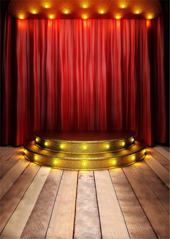 Red Curtain Wood Floor Vintage Stage For Kids Children Backdrop Photography Props Studio Background