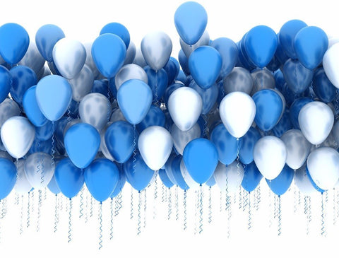 Blue White Balloons Birthday Backdrop For Kids Children Photography Props Studio Background