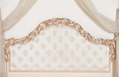 White Gold Headboard Bed Backdrop Photography Props Studio Background