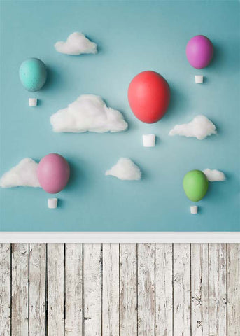 Cartoon White Clouds Wood Floor  Easter Eggs Newborn Kids Easter Backdrop Photography Props Studio Background