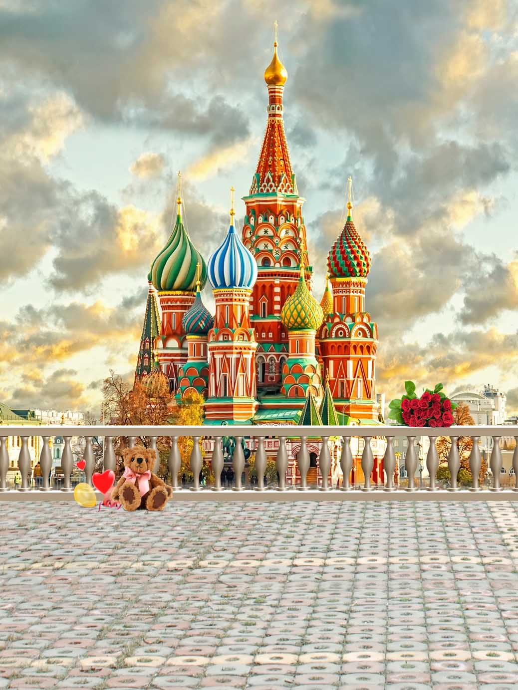 6x6FT Vinyl Photography Backdrop,Russia,Sketch Style Moscow Photo Background for Photo Booth Studio Props