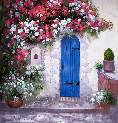 White Brick Wall Red White Flowers Blue Wood Door Painting Backdrop Photography Studio Background