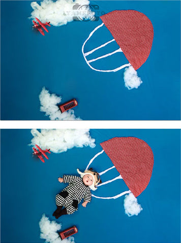 White Cloud Red Parachute Baby Backdrop Photography Studio Background