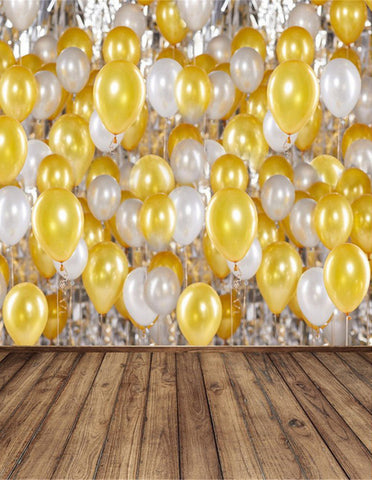 Yellow White Balloons Wood Floor Baby Kids Birthday Props Backdrop Photography Studio Background