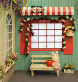 Rabbit Toy Wood Wall Red White windows Kids Backdrop Photography Studio Background