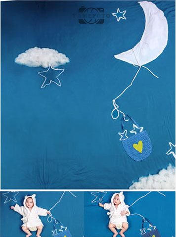 White Cloud Moon Star Baby Backdrop Photography Studio Background