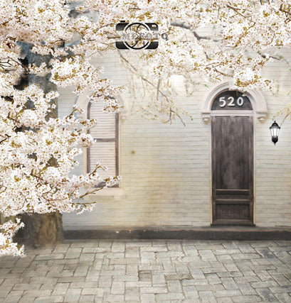 White Flowers Brick Wall Floor Wood Door Window Backdrop Photography Studio Background