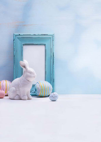 Blue White Wall Rabbit Toy Easter Eggs Backdrop Photography Studio Background
