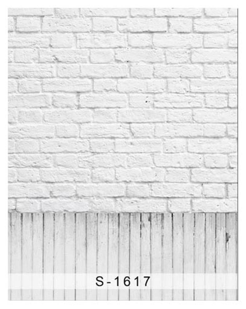 White Gray Brick Plank Board Wall Floor Photography Studio Backdrop Background