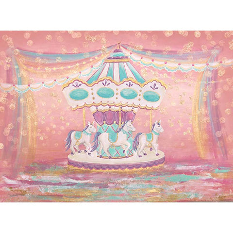 Horizontal Paint Carousel Ribbon Unicorn Birthday Backdrop Photography Studio Background