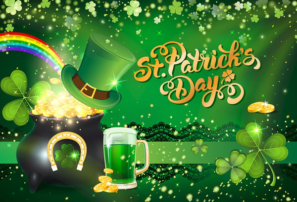 St. Patrick's Day Green Beer Photography Studio Backdrop Background Banner