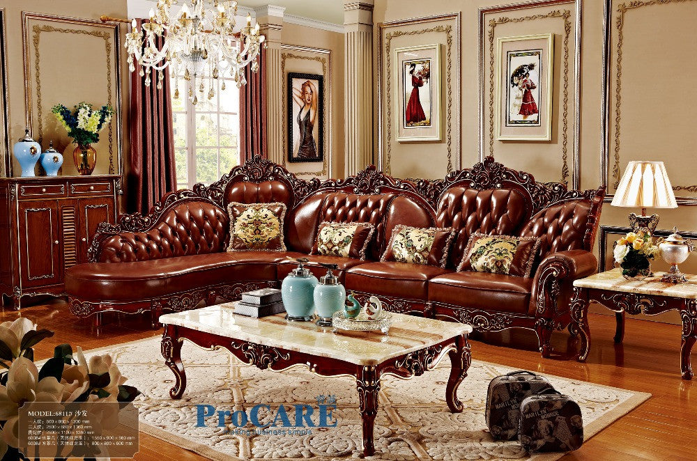 red solid wood genuine leather corner sofa set / L shape sofa set living  room furniture with marble surface\'s coffee table-6811