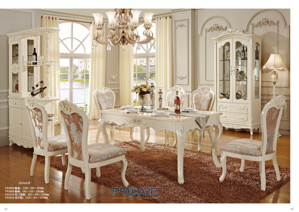 New Classical Dining Room Furniture Wooden Carving Dinning Table Sets
