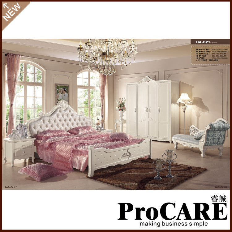 1.8M big size bed with chaise longue romantic white bedroom sets
