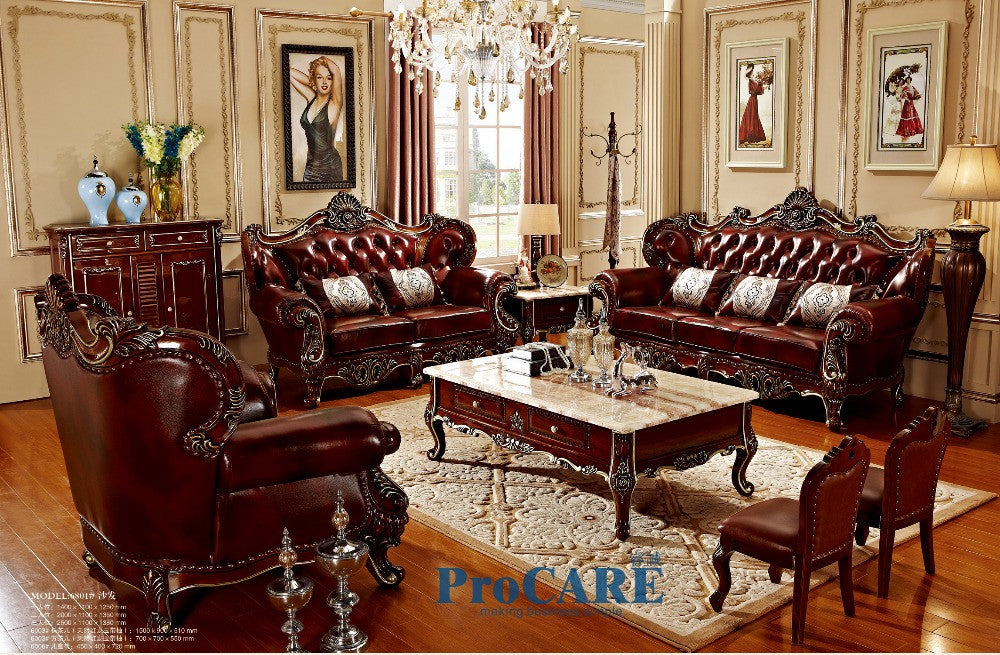 Swell 3 Different Sets Red Solid Wood Genuine Leather Sofas Set Living Room Furniture With Coffee Table In China Prf6801 05 08 Download Free Architecture Designs Scobabritishbridgeorg