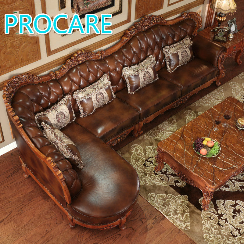 American Styl Esolid Wood L Shape Leather Sofa Set With Carving For ...