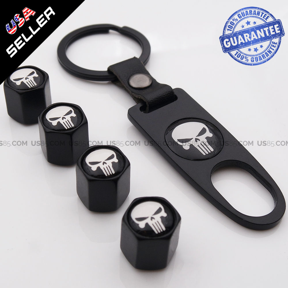 Black Auto Car Wheel Tire Valve Dust Stems Air Caps Keychain With Skull Emblem - US85.COM