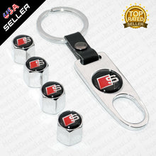 Load image into Gallery viewer, Chrome Car Wheel Tire Valve Dust Stems Air Caps + Keychain With Audi S Emblem - US85.COM