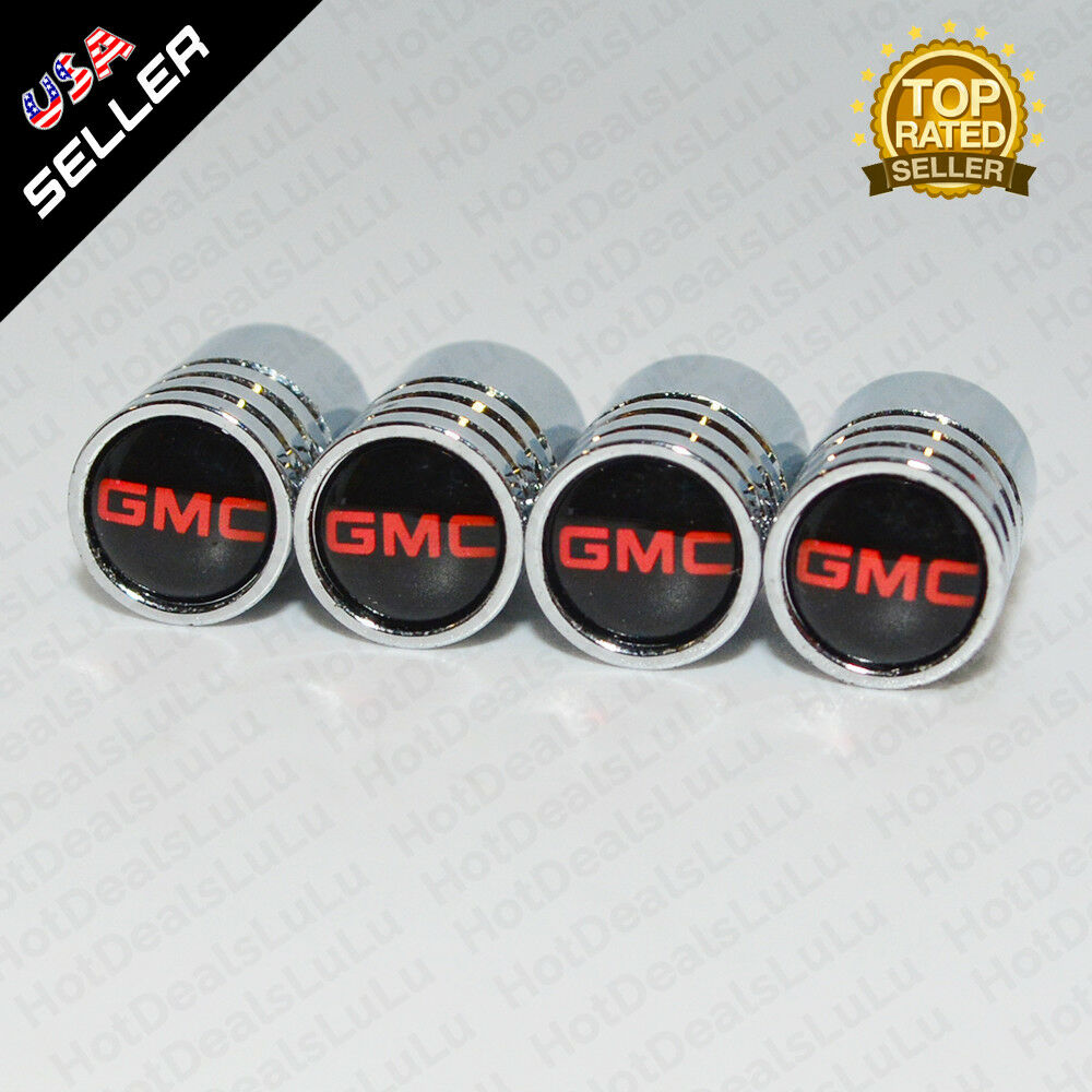 Silver Chrome Wheels Tire Tyre Air Valve Caps Stem Valve Cover With GMC Emblem - US85.COM